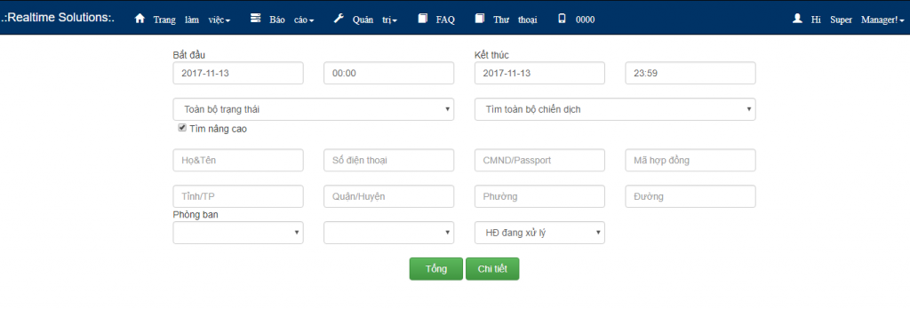 Báo cáo chiến dịch outbound, gọi ra, telesale, telemarketing